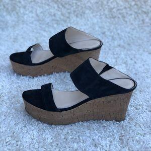 Marc Fisher Shelbee Black Suede Wedge Sandal 8.5